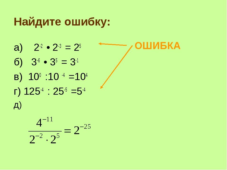 Найдите ошибку: а) 2-2 • 2-3 = 25 б) 3-6 • 35 = 3-1 в) 100 :10 -4 =104 г) 125...