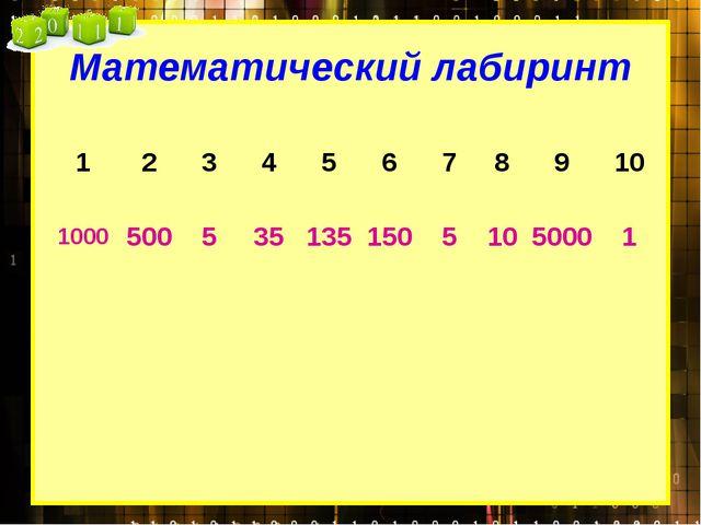 Математический лабиринт 1 2 3 4 5 6 7 8 9 10 1000 500 5 35 135 150 5 10 5000 1