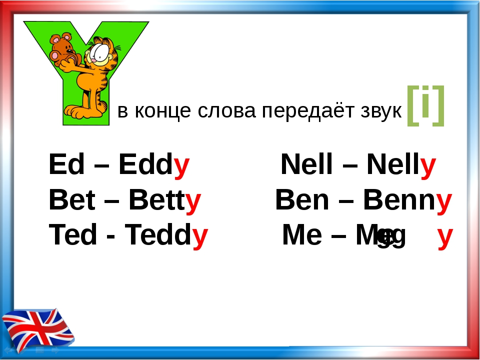 в конце слова передаёт звук [i] Ed – Eddy Nell – Nelly Bet – Betty Ben – Benn...