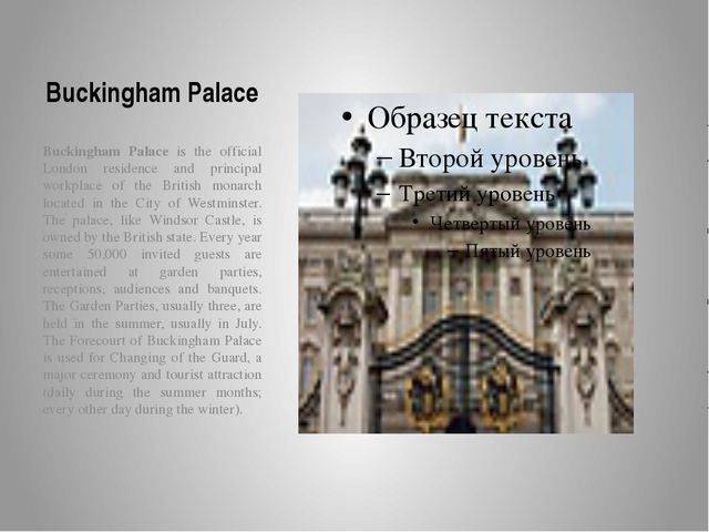 Buckingham Palace Buckingham Palace is the official London residence and prin...