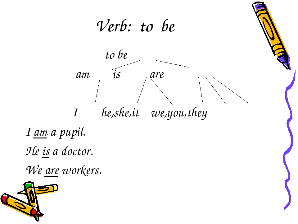 Verb: to be to be am is are I he,she,it we,you,they I am a pupil. He is a doc...