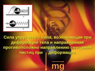 Fупр mg Сила упругости – сила, возникающая при деформации тела и направленная
