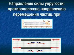 Направление силы упругости: противоположно направлению перемещения частиц при