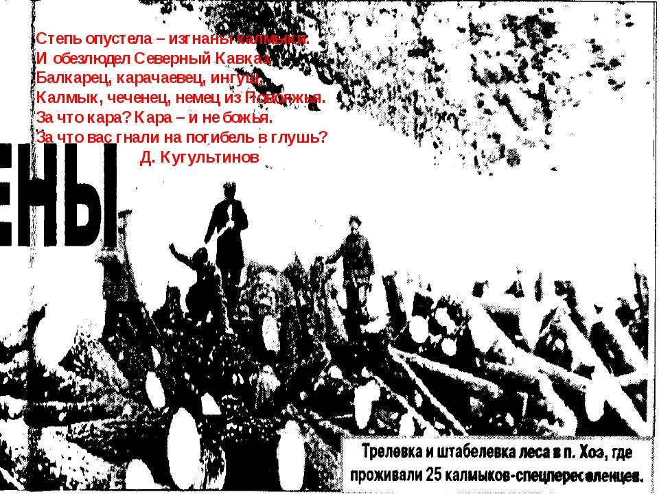 Степь опустела – изгнаны калмыки. И обезлюдел Северный Кавказ. Балкарец, кара...
