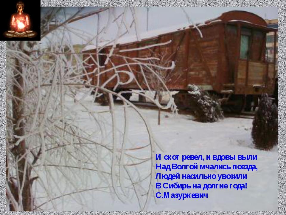 И скот ревел, и вдовы выли Над Волгой мчались поезда, Людей насильно увозили...