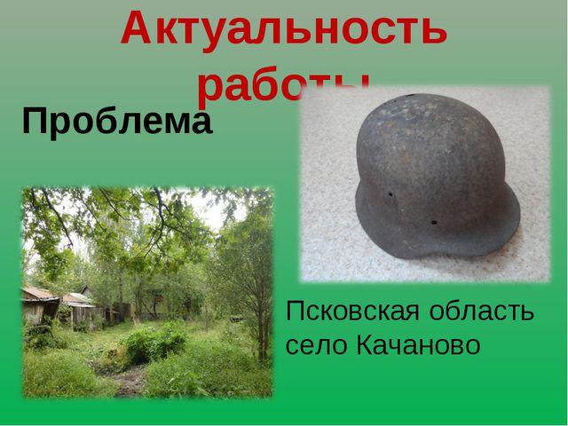 Актуальность работы Проблема Псковская область село Качаново