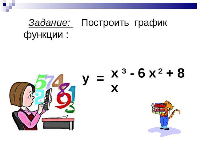 Задание: Построить график функции : у = х 3 - 6 х 2 + 8 х х