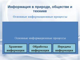 Основные информационные процессы Информация в природе, обществе и технике Ос