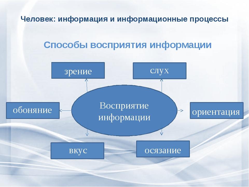 Человек: информация и информационные процессы  Способы восприятия информации...