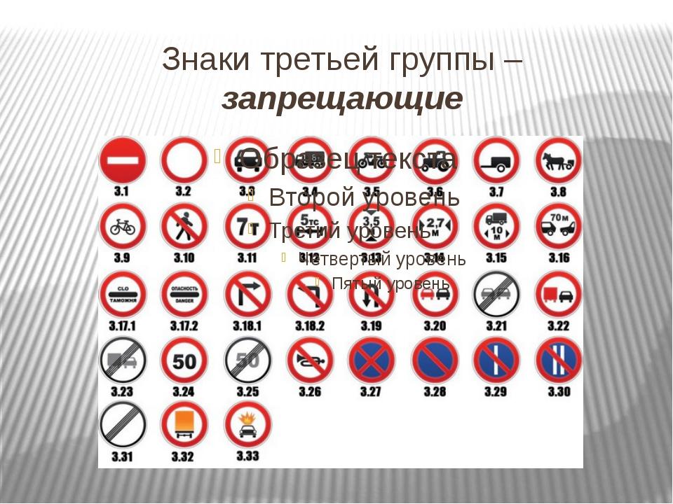 Знаки третьей группы – запрещающие