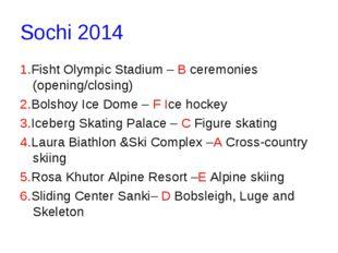 Sochi 2014 1.Fisht Olympic Stadium– B ceremonies (opening/closing) 2.Bolshoy