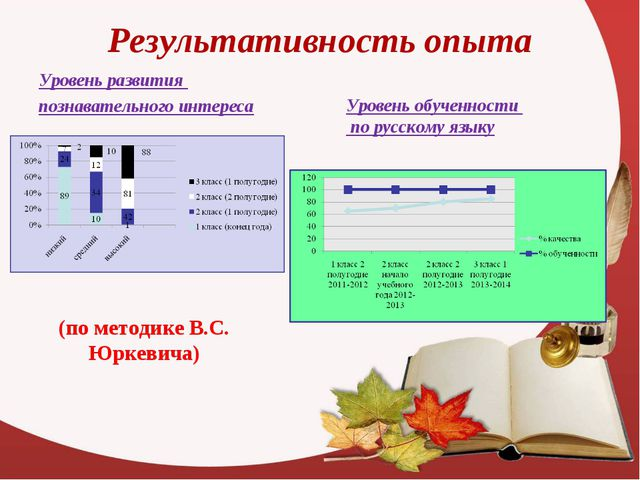 Результативность опыта Уровень развития познавательного интереса Уровень обуч...