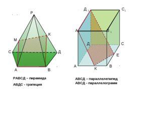 Р А В К М С Д РАВСД – пирамида АВДС - трапеция Д 1 С1 А В Д С А1 В 1 К E АВСД