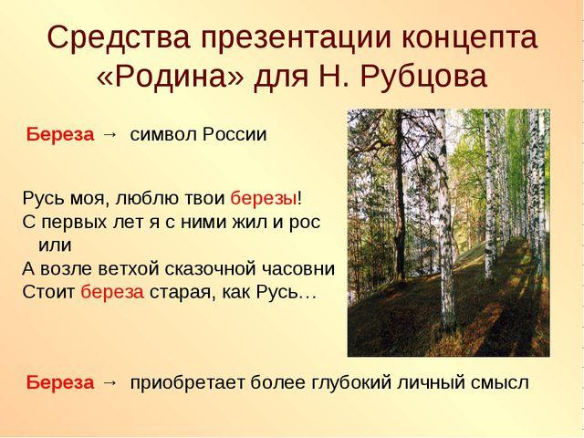 Средства презентации концепта «Родина» для Н. Рубцова Береза → символ России...