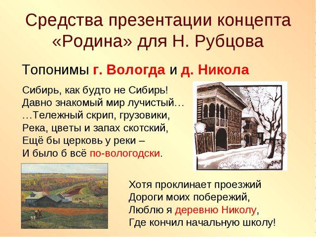 Средства презентации концепта «Родина» для Н. Рубцова Топонимы г. Вологда и д...