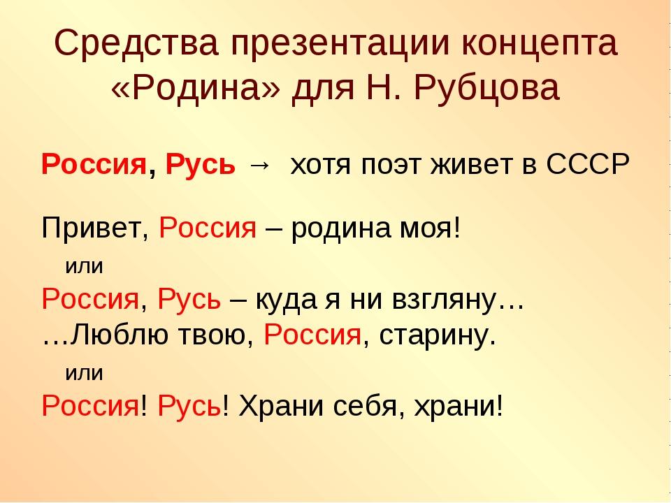 Средства презентации концепта «Родина» для Н. Рубцова Россия, Русь → хотя поэ...
