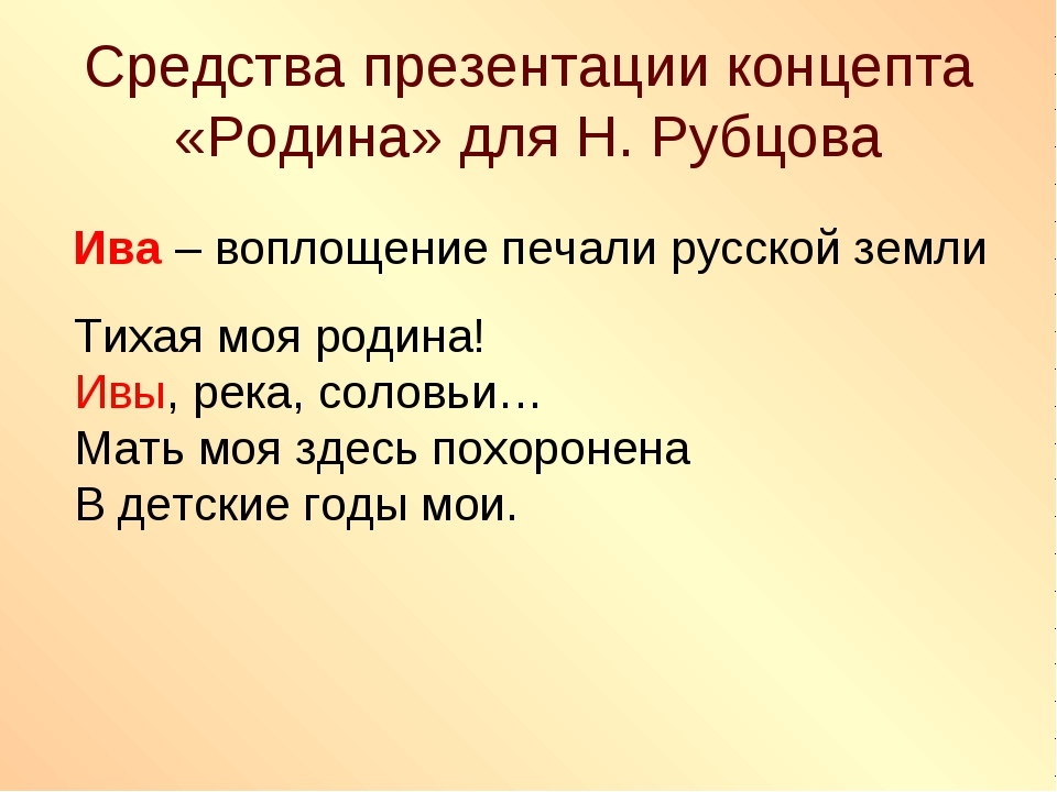 Средства презентации концепта «Родина» для Н. Рубцова Ива – воплощение печали...