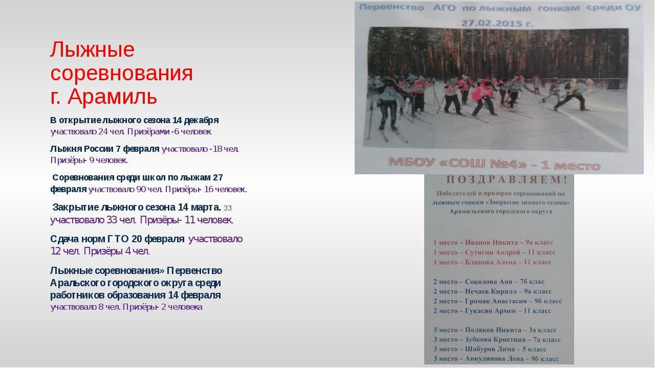 Лыжные соревнования г. Арамиль В открытие лыжного сезона 14 декабря участвова...