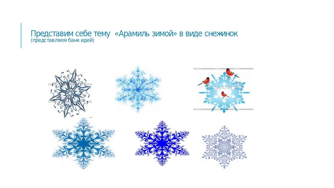 Представим себе тему «Арамиль зимой» в виде снежинок (представляем банк идей)