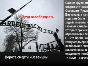 Ворота смерти «Освенцим «Труд освобождает» Самым крупным лагерем смерти счита