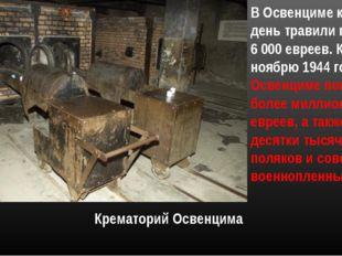 Крематорий Освенцима В Освенциме каждый день травили газом до 6 000 евреев. К