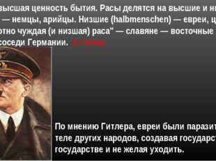 По мнению Гитлера, евреи были паразитами на теле других народов, создавая гос