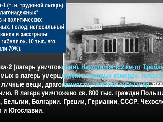 """Треблинка-1 (т. н. трудовой лагерь) - для """"неблагонадежных"""" элементов и полит..."""