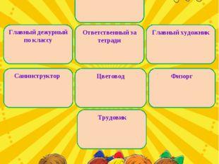 Староста Главный дежурный по классу Главный художник Санинструктор Цветовод
