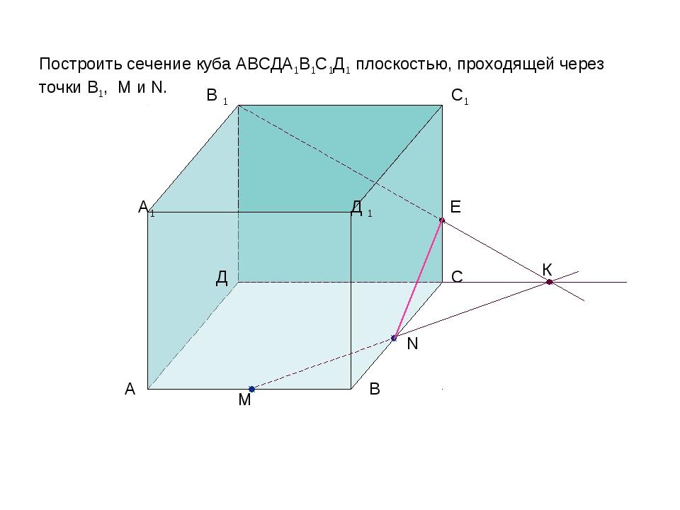 К E Построить сечение куба АВСДА1В1С1Д1 плоскостью, проходящей через точки В1...