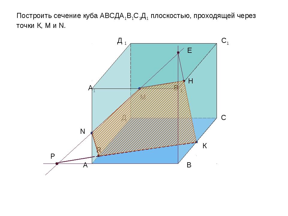 Р R E H Построить сечение куба АВСДА1В1С1Д1 плоскостью, проходящей через точк...