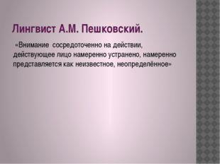 Лингвист А.М. Пешковский. «Внимание сосредоточенно на действии, действующее л