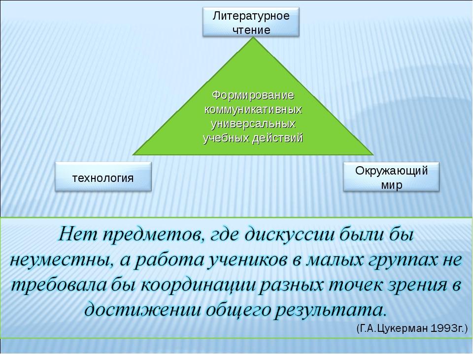 Формирование коммуникативных универсальных учебных действий