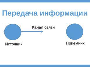 Передача информации Источник Приемник Канал связи
