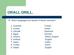 ORALL DRILL. Which languages are spoken in these countries? 1. Australia Turk