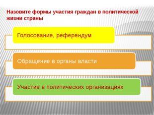 Назовите формы участия граждан в политической жизни страны