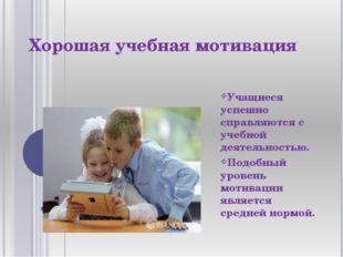 Хорошая учебная мотивация Учащиеся успешно справляются с учебной деятельность