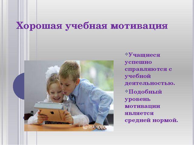 Хорошая учебная мотивация Учащиеся успешно справляются с учебной деятельность...