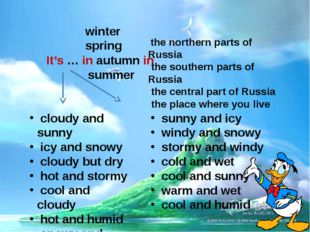 It's … in autumn in winter spring summer the northern parts of Russia the sou