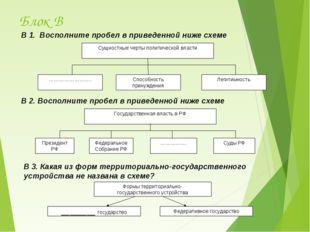 Блок В В 1. Восполните пробел в приведенной ниже схеме Сущностные черты полит