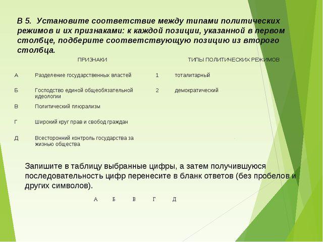 В 5. Установите соответствие между типами политических режимов и их признакам...