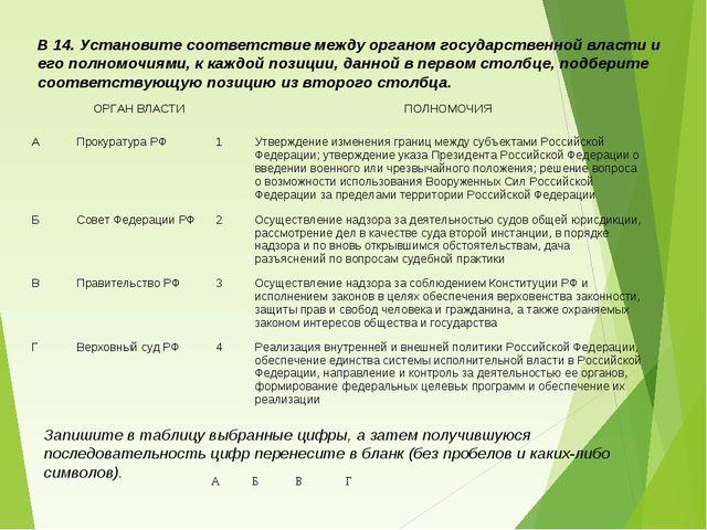 В 14. Установите соответствие между органом государственной власти и его полн...