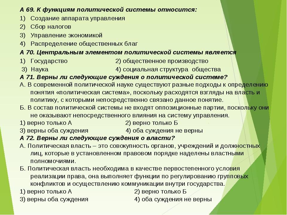 А 69. К функциям политической системы относится: Создание аппарата управления...