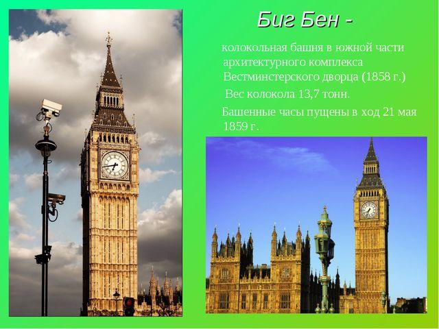 Биг Бен - колокольная башня в южной части архитектурного комплекса Вестминсте...