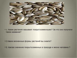 1. Какие растения называют покрытосеменными? За что они получили такое назва