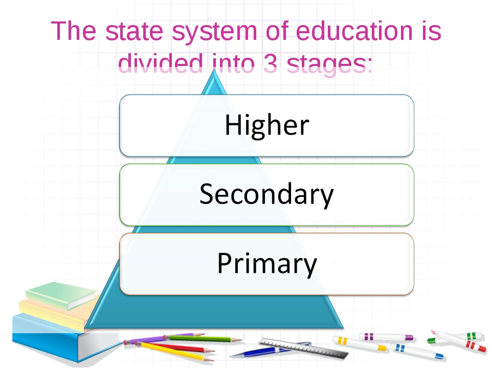 The state system of education is divided into 3 stages: