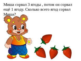 Миша сорвал 3 ягоды , потом он сорвал ещё 1 ягоду. Сколько всего ягод сорвал