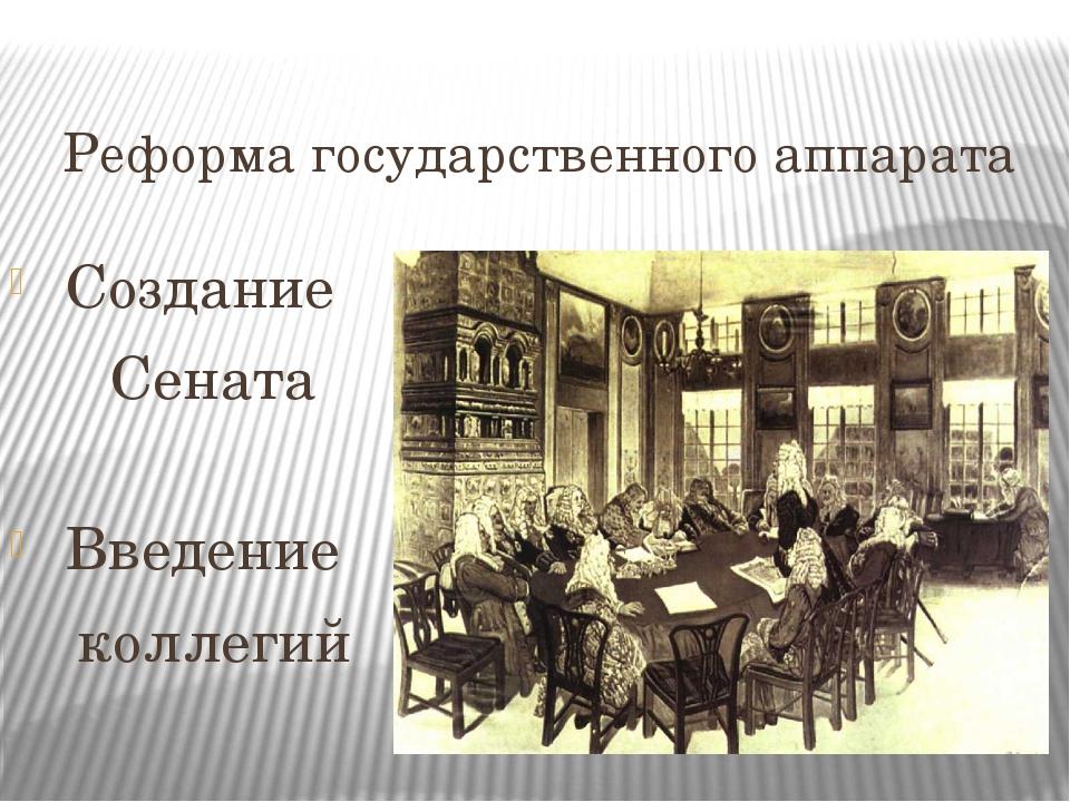 Реформа государственного аппарата Создание Сената Введение коллегий