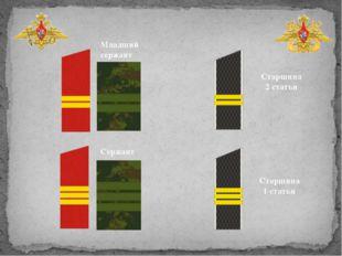 Старшина 2 статьи Старшина 1 статьи Младший сержант Сержант