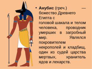 Анубис(греч.) — божествоДревнего Египтас головойшакалаи телом человека,