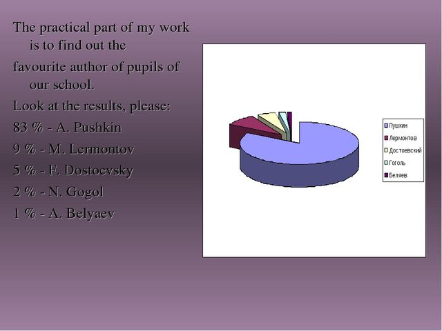 The practical part of my work is to find out the favourite author of pupils o...